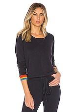 MONROW Rainbow Cuff Sweatshirt in Neptune
