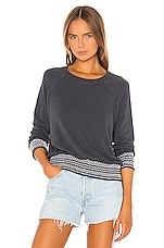 MONROW Supersoft Smocked Waist Raglan Sweatshirt in Vintage Black