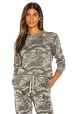 MONROW Camo Raglan Sweater in Grey Camo