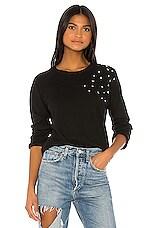 MONROW Vintage Raglan Clustered Rhinestone Sweatshirt in Black
