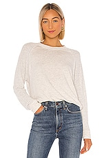 MONROW Supersoft Mesh Mixed Slouchy Raglan in Ash