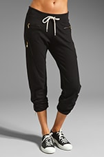 Heather Fleece Zipper Sweats in Black