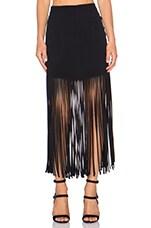 MONROW Fringe Maxi Skirt in Black