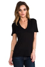 Tissue V-Neck en Noir