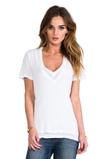 Double Tissue V-Neck Top in White