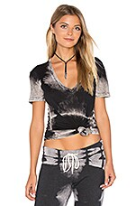 Ash Tie Dye Oversized V in Black