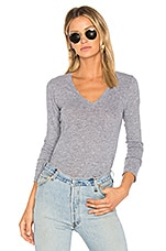 MONROW Jersey Long Sleeve V Neck Tee in Granite