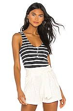 MONROW Stripe Henley Tank in Stripes in Natural