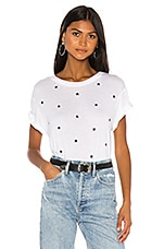 MONROW Vintage Crew All Over Star Embroidery Tee in White