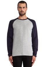 Raglan Tee in Grey/ Navy