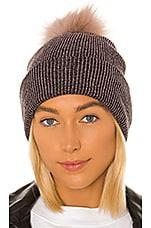 Hat Attack Sparkle Fur Pom Beanie in Mauve & Blush