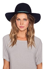 Round Crown Floppy Hat in Navy & Turquoise Tube