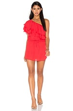 ROBE COURTE ONE SHOULDER RUFFLE