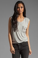 Tank with Silk Back and Pocket in Light Heather Grey/Smoke