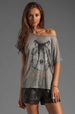 Haute Hippie Hungry Like a Wolf Tee in Light Heather Grey