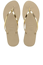 Havaianas You Metallic Flip Flop in Sand Grey & Light Golden