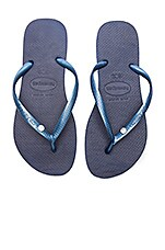Havaianas Slim Crystal Glamour SW Sandal in Navy Blue