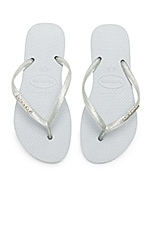 Havaianas Slim Logo Metallic Sandal in Grey