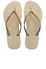 Havaianas Slim Flip Flop in Sand Grey & Light Golden