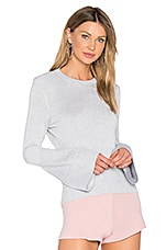 Janis Lurex Crew Neck Sweater in Light Heather Grey
