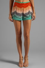 harlyn High Waisted Tap Shorts in Mint Chevron