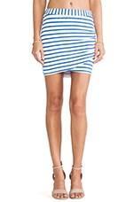 Stipped Wrap Skirt in Cobalt & White