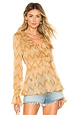 House of Harlow 1960 X REVOLVE Jo Blouse in Ivory & Tan Chevron