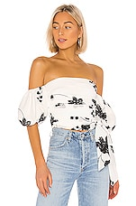 House of Harlow 1960 x REVOLVE Leya Embroidered Top in White & Black