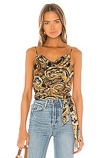 House of Harlow 1960 X REVOLVE Patrice Top in Black & Gold Paisley