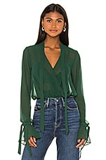 House of Harlow 1960 x REVOLVE Joli Tie Cuff Blouse in Forest Green
