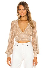 House of Harlow 1960 x REVOLVE Meghan Blouse in Gold & White Dot