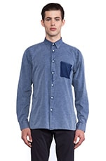 Kagan Stitch Shirt in Indigo Bleach