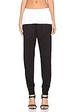 Colorblock Silk Pant in Black & White
