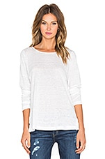 Long Sleeve Linen Hi Lo Top en Blanc