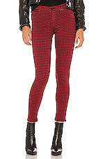 Hudson Jeans Barbara High Waist Super Skinny Ankle in Oxblood Houndstooth