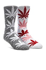 Plantlife Crew Socks in Charcoal, Grey Heather, White, Huf Plantlife Crew Socks in White, Pink & Red