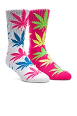 Neon Plantlife Crew Socks in Pink, Huf Neon Plantlife Crew Socks in White