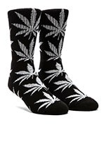 Glow In The Dark Plantlife Crew Socks in Black Glow, Huf Glow In The Dark Plantlife Crew Socks in Black Glow