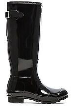 Hunter Original Back Adjustable Gloss Rain Boot in Black