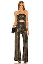h:ours Shine Jumpsuit in Black & Gold