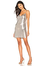 h:ours Willa Chainmail Dress in Iridescent Silver