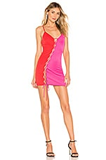 h:ours Willey Mini Dress in Pink & Red