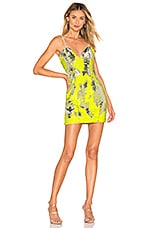 h:ours Poppy Mini Dress in Silver Yellow