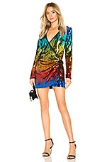 h:ours Angelo Wrap Mini Dress in Rainbow