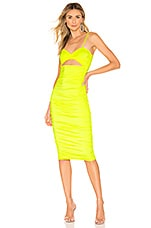 h:ours Shelby Midi Dress in Neon Yellow