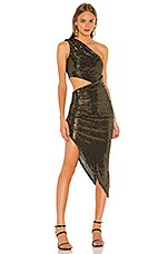 h:ours Wonder Midi Dress in Black & Gold