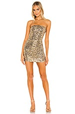 h:ours Olympia Mini Dress in Gold