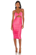 h:ours Shelby Midi Dress in Pink Punch