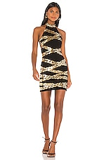 h:ours Chain'd Mini Dress in Gold