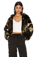 h:ours Normandy Faux Fur Jacket in Camo